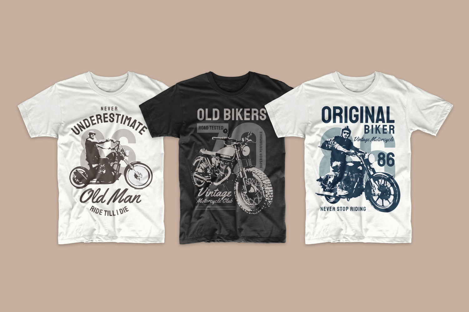Classic T-shirts with retro motorcycle graphics.
