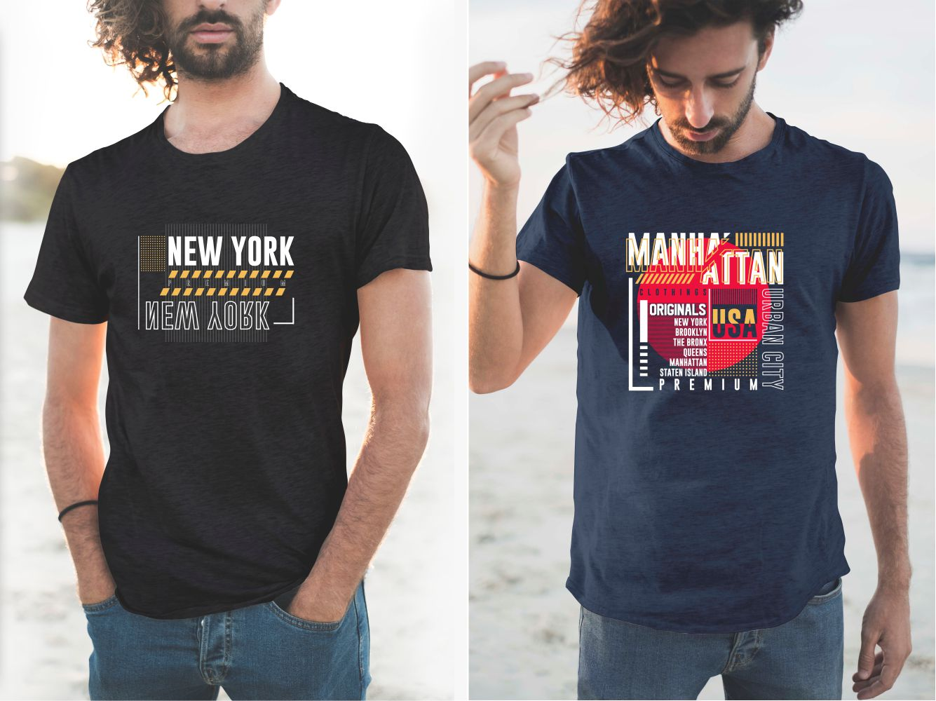 T-shirts with a picturesque graphic element about New York.