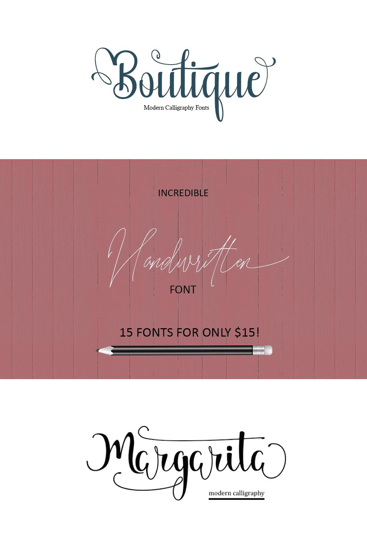 Pinterest Image: 15 Incredible Handwritten Fonts.