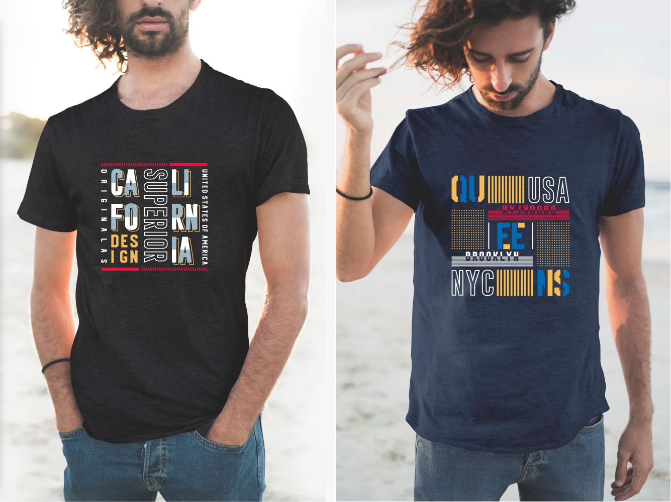 Two T-shirts with original US state lettering designs.