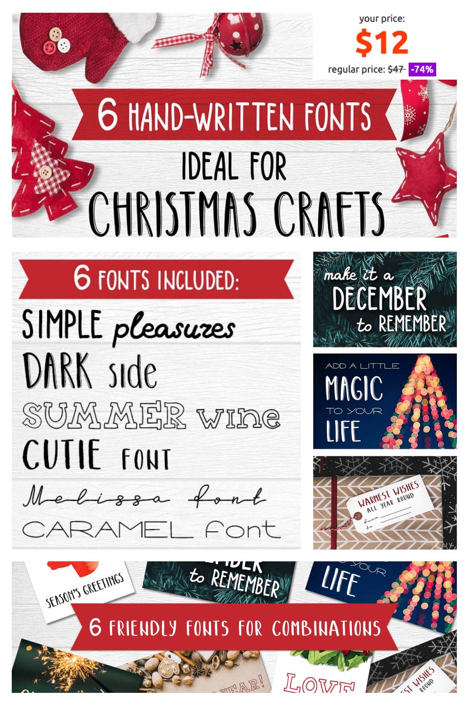 Pinterest Image: Best Christmas Fonts - Lettering for Christmas Cards.