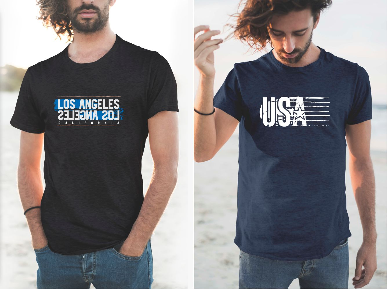T-shirts with the Los Angeles and USA slogan.