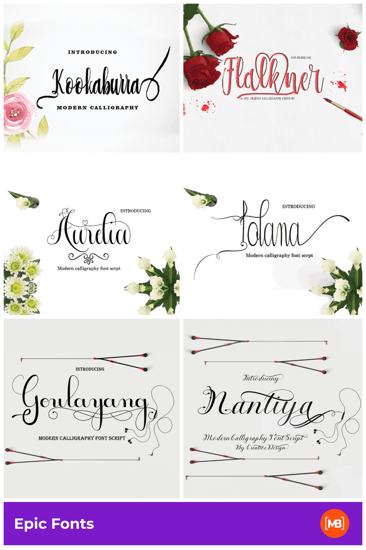 Pinterest Image: 57 Epic Fonts - Super Font Bundle for $15 Only.