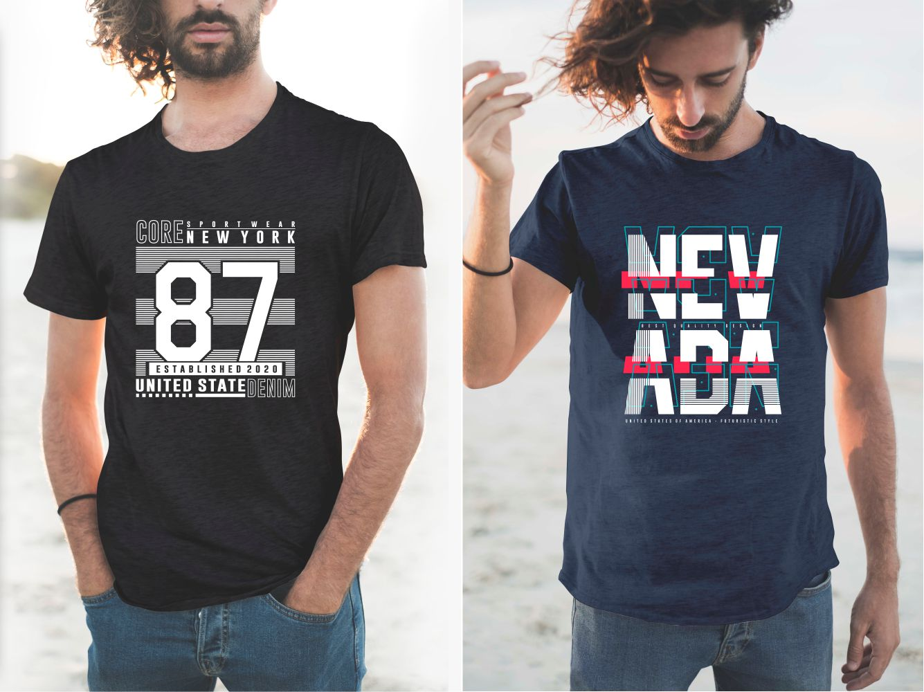 Black and blue T-shirts with modern lettering designs.