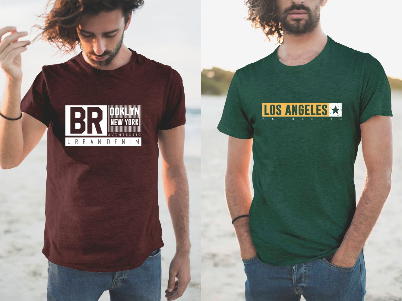 Burgundy and green tees with the name of LA and Borough of New York.
