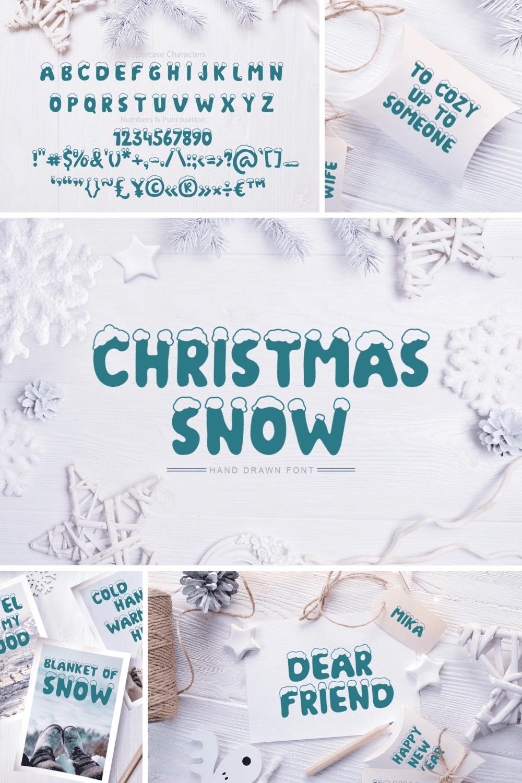 Pinterest Image: Christmas Snow Hand Drawn Font.