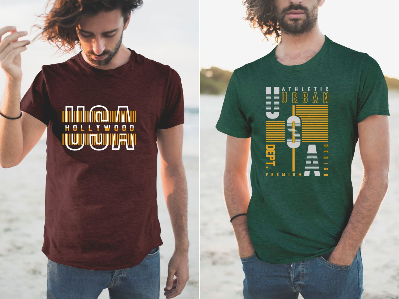 Green and brown T-shirts with the USA name.