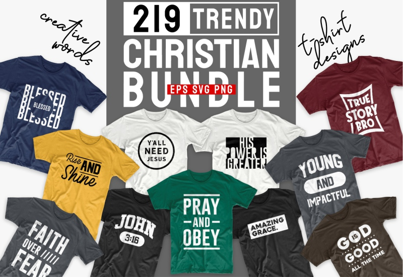 Cover image of Christian T-Shirt Sayings Bundle.