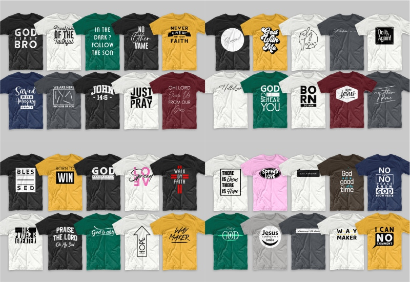 Various T-shirts with bright yellow.