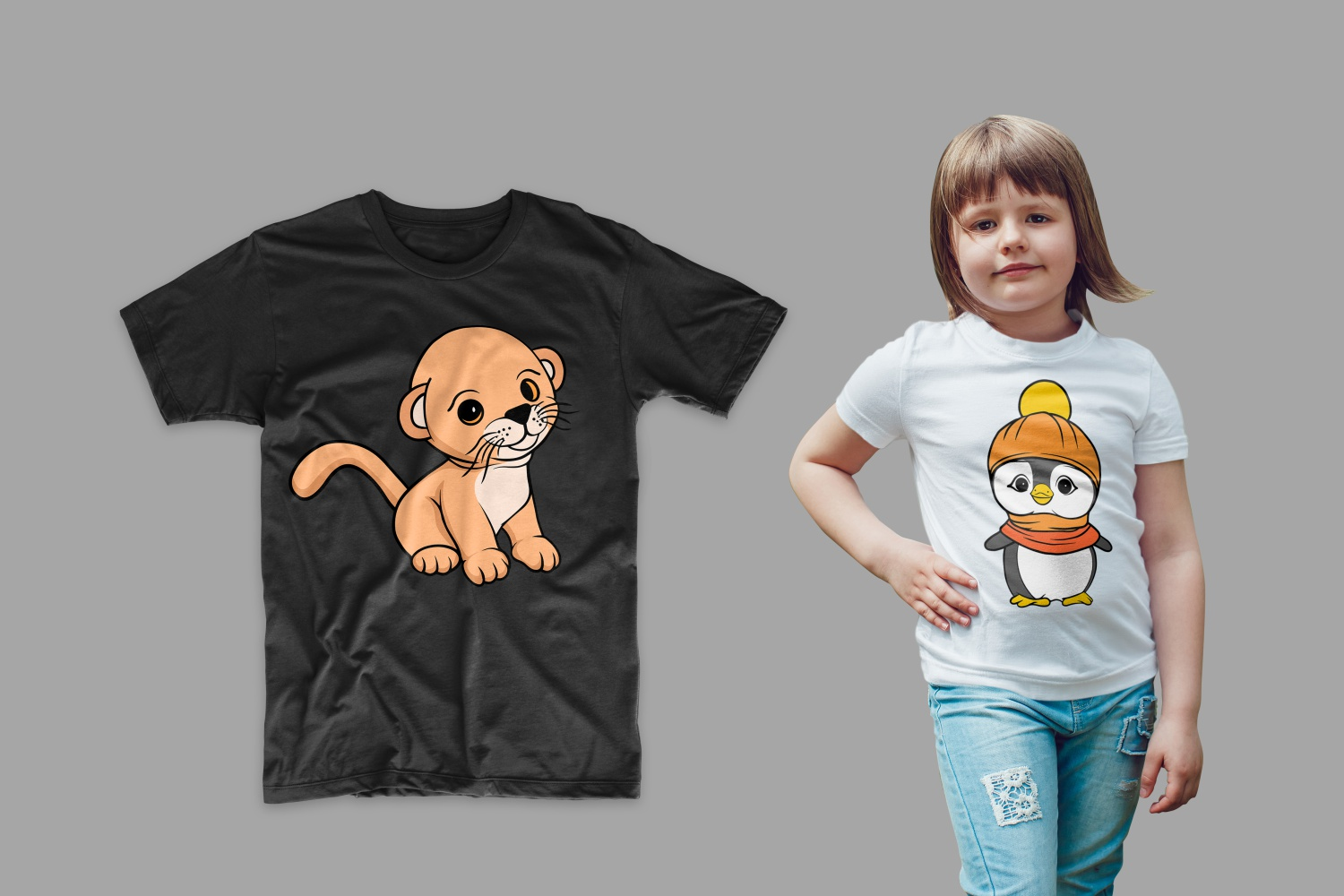 The T-shirt is black with a lion cub and white with a penguin.