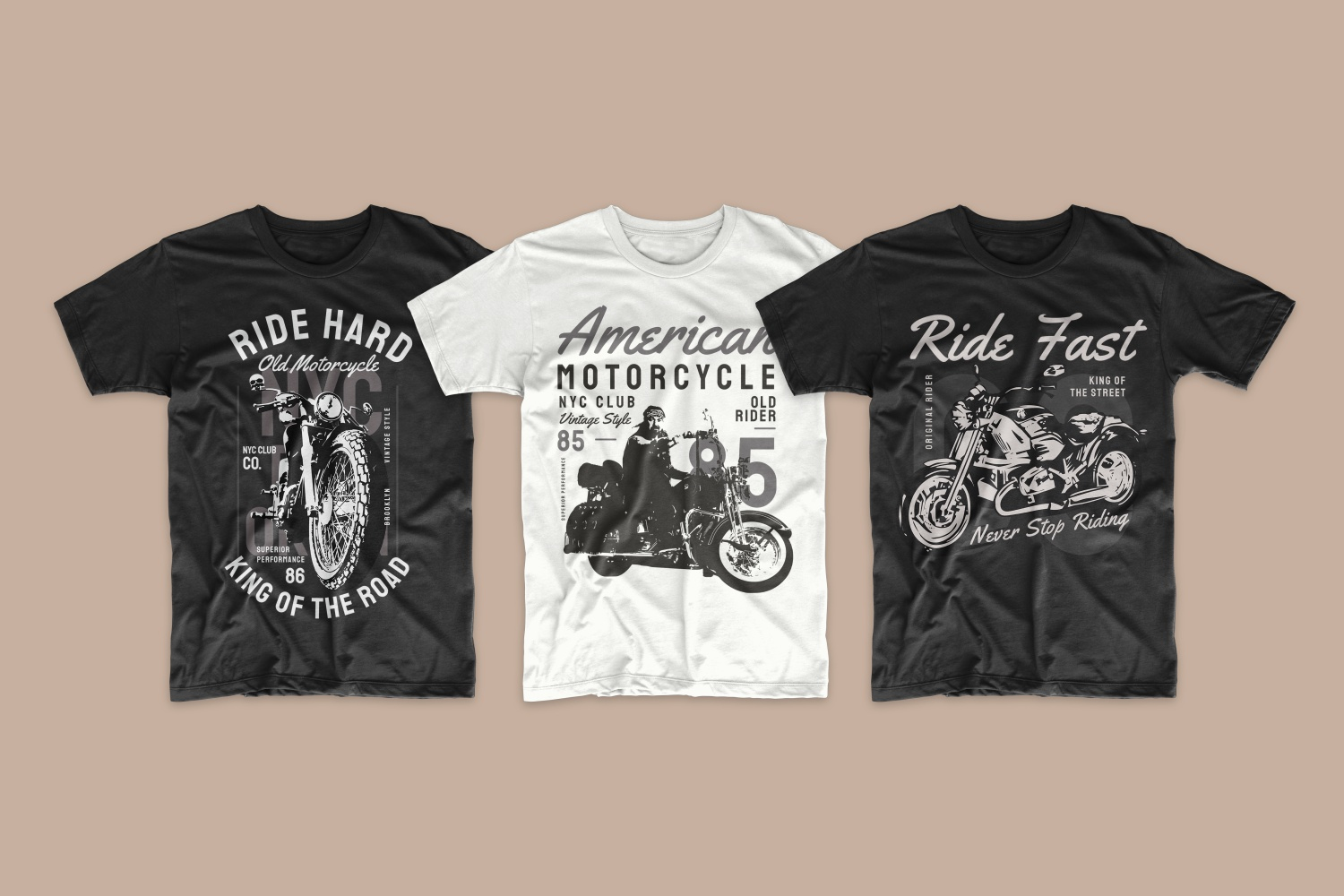 Dark shirts and one light shirt with American motorcyclists.