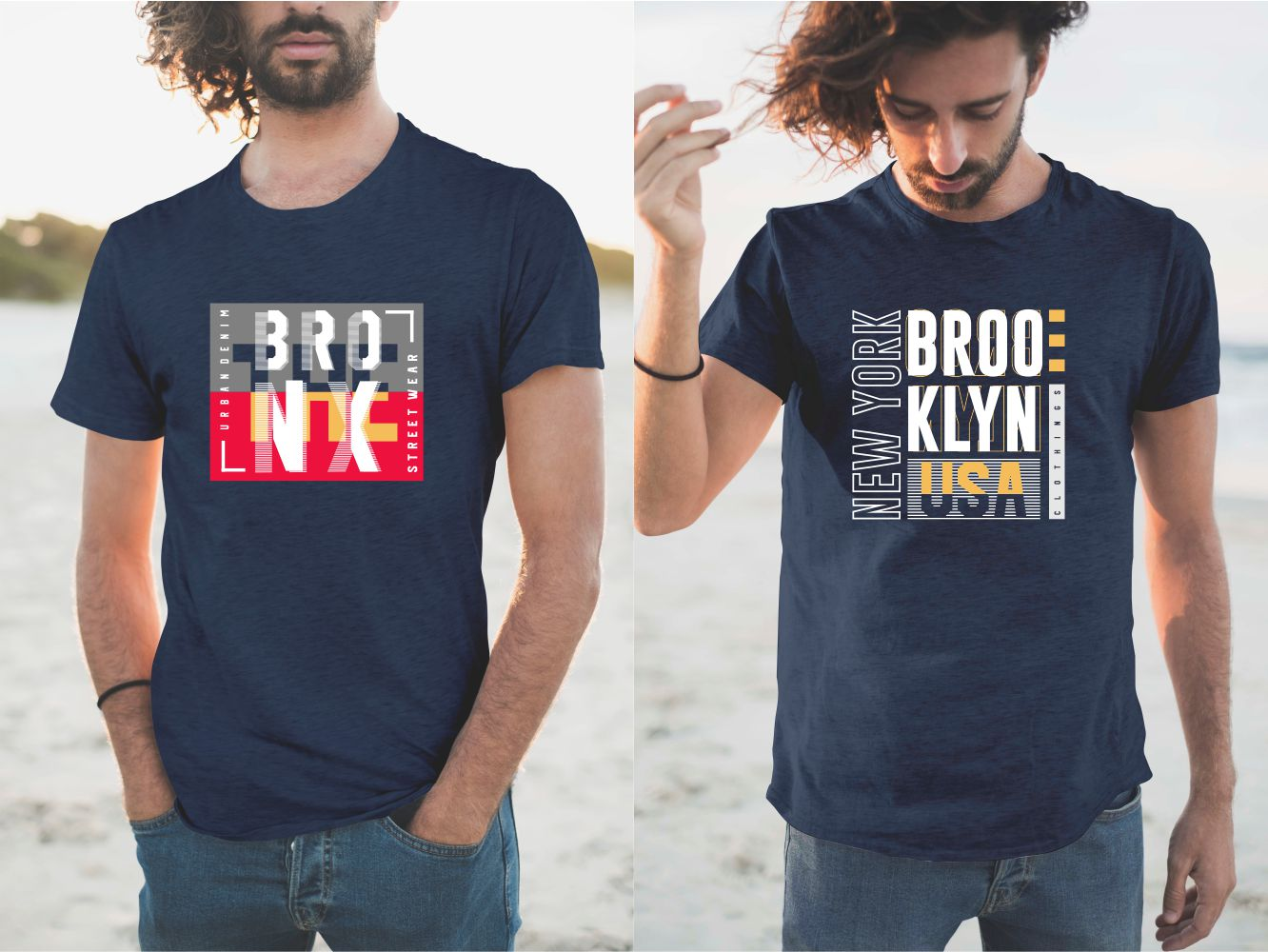 Two navy blue NYC T-shirts.