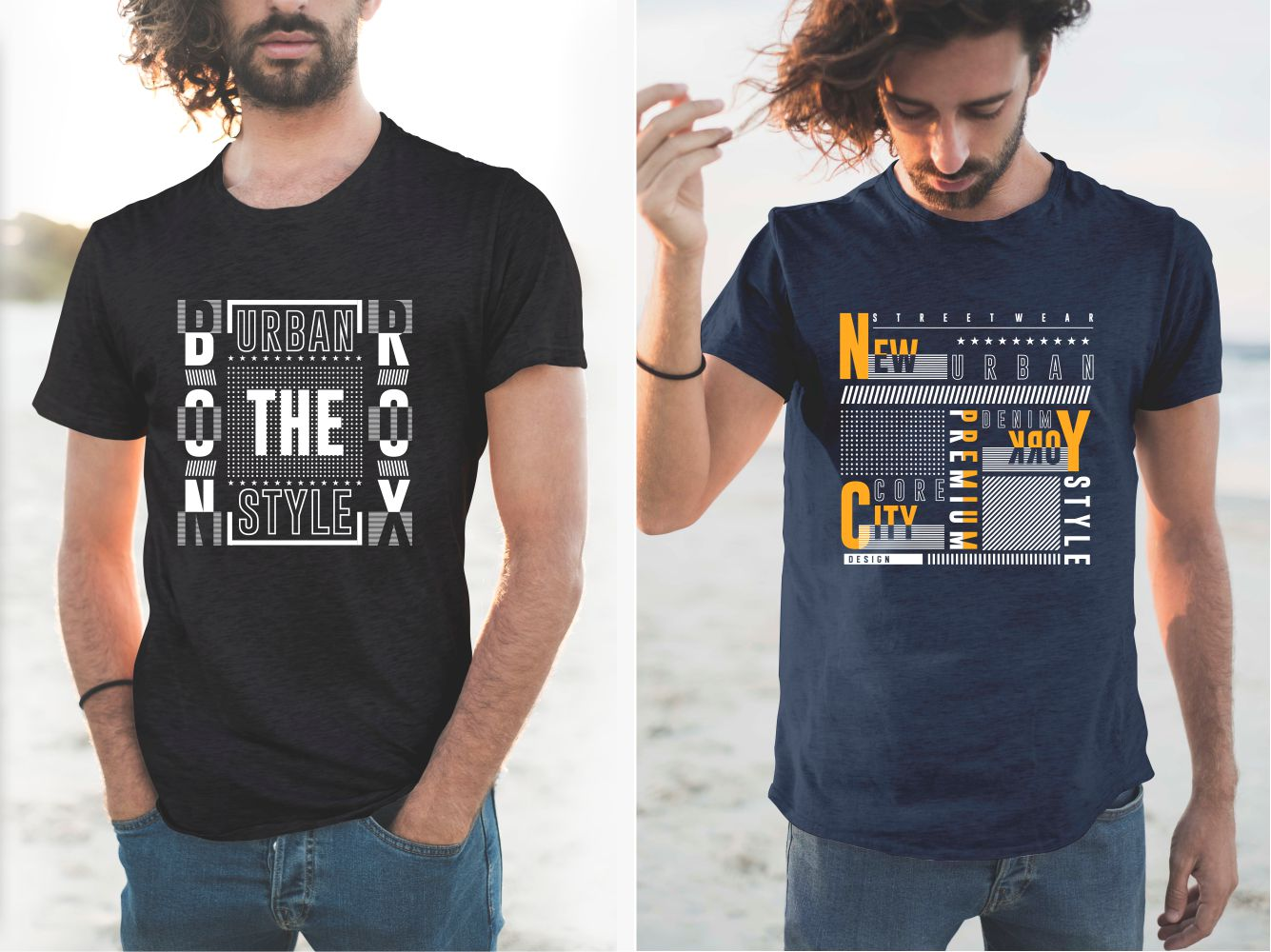 T-shirts in the American style with the inscription of the two boroughs of New York.