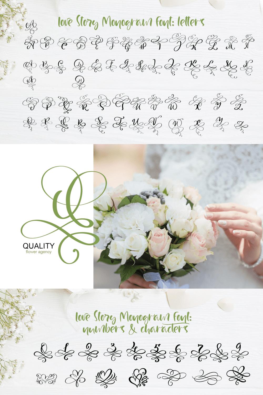 Pinterest Image: Love Letters Monogram Font.