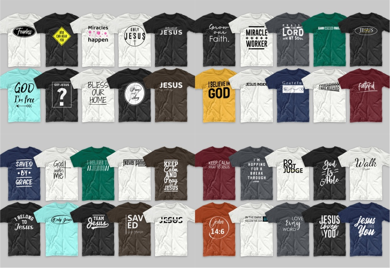 T-shirts in various colors with a round neckline.
