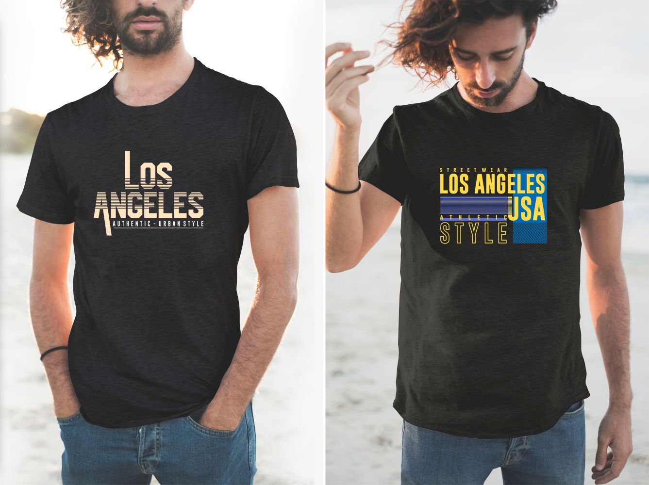 The two black T-shirts have various versions of the LA lettering.