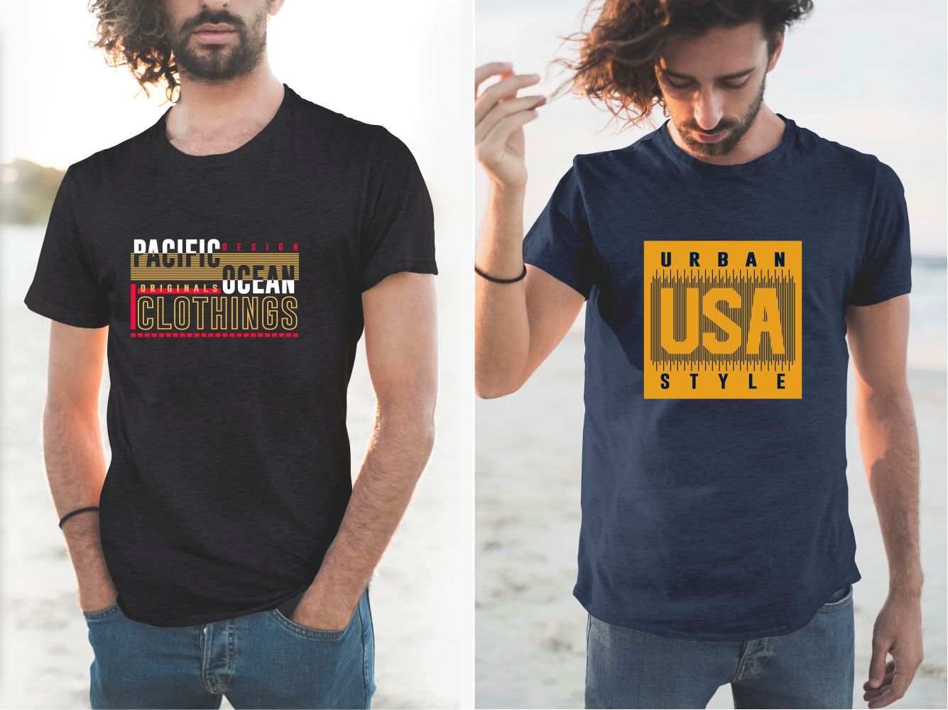 Black and blue T-shirts with colorful and vibrant names.