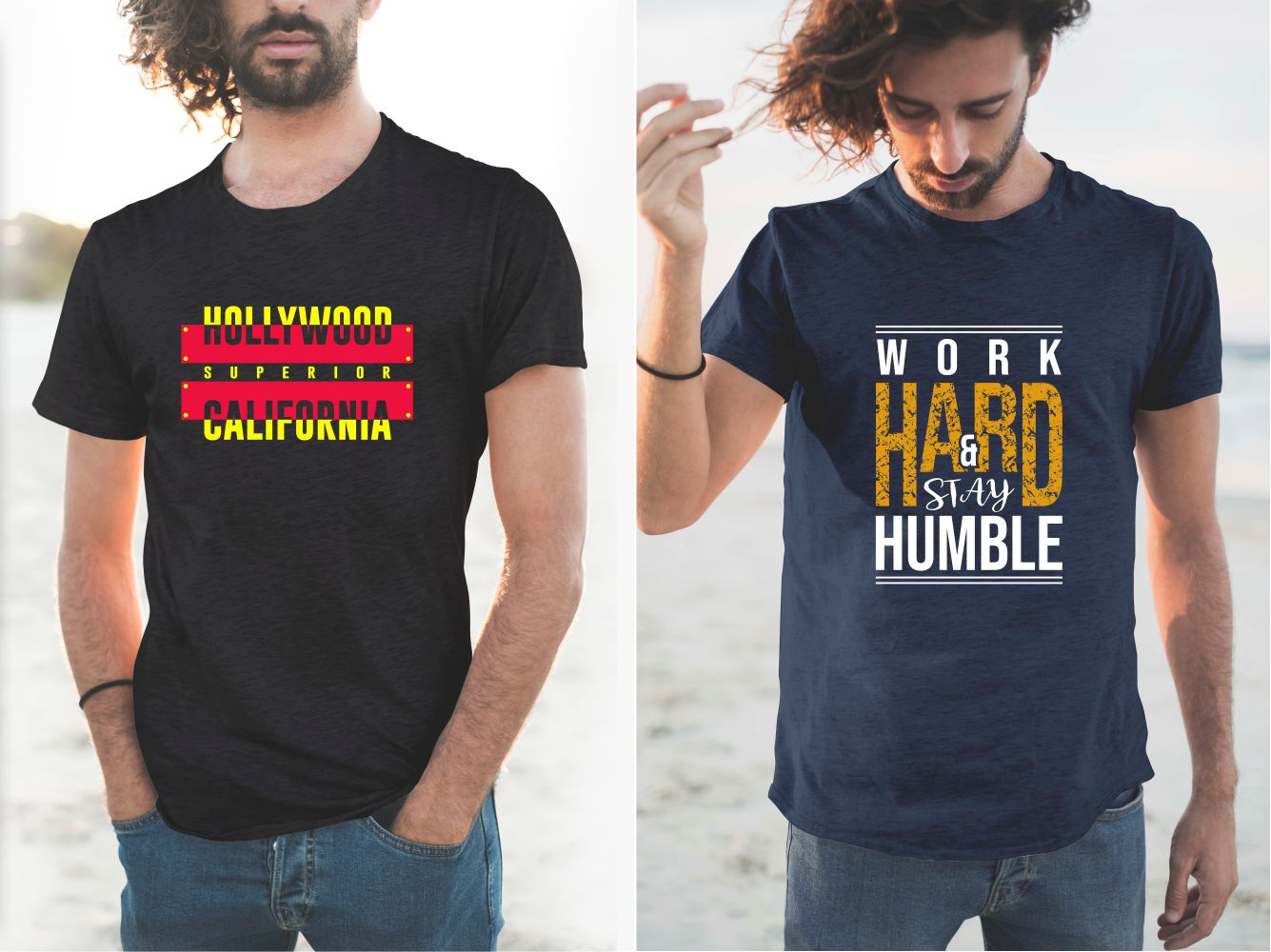T-shirts with beautiful and stylish US-themed inscriptions.