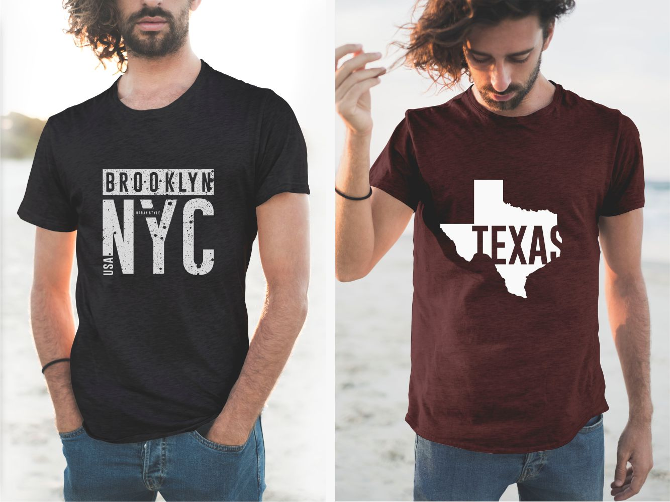 Stylish men's T-shirts with a classic cut with a map of Texas and the name of the New York borough.