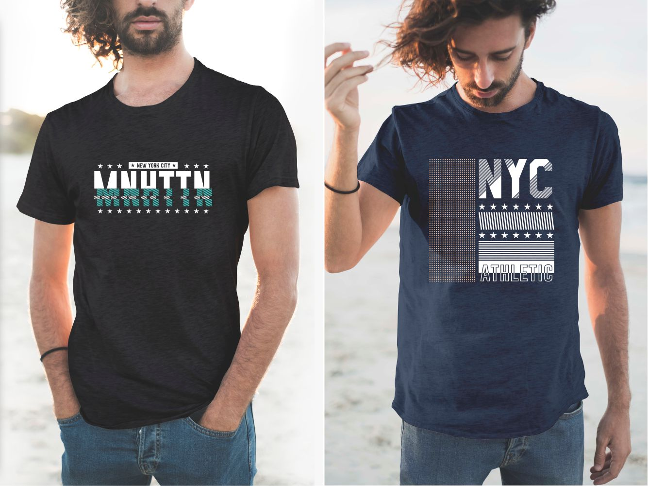 Black and blue T-shirts with green and white New York lettering.