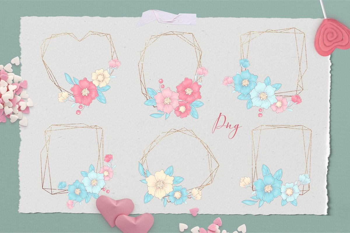 There are even frames here that are made in a minimalist style with flowers.