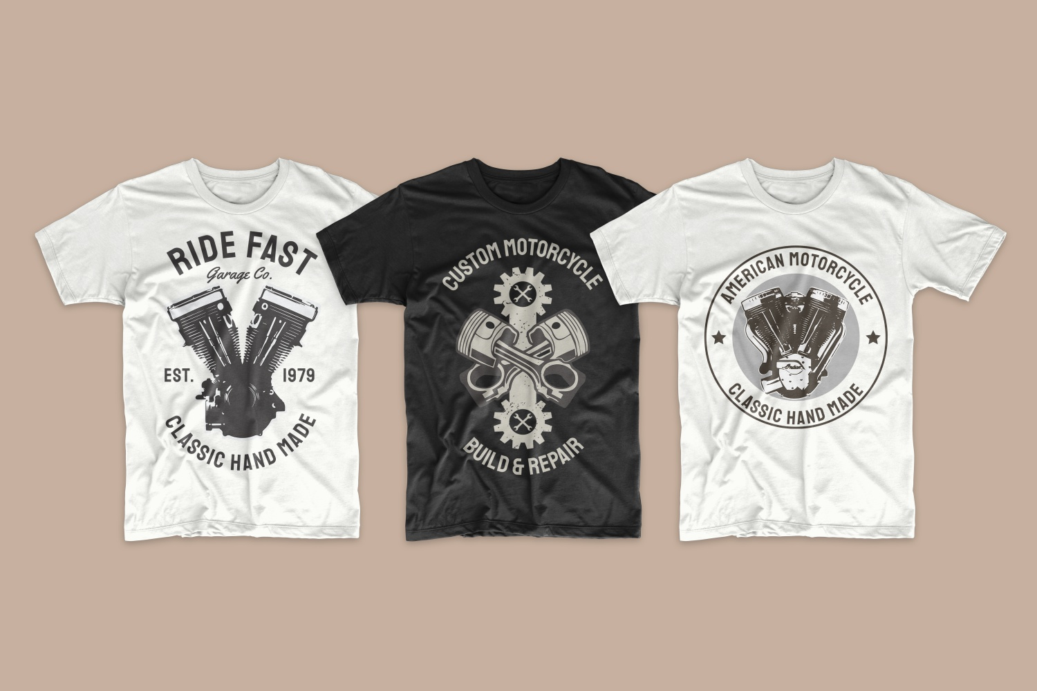 T-shirts with motorcycle attributes.