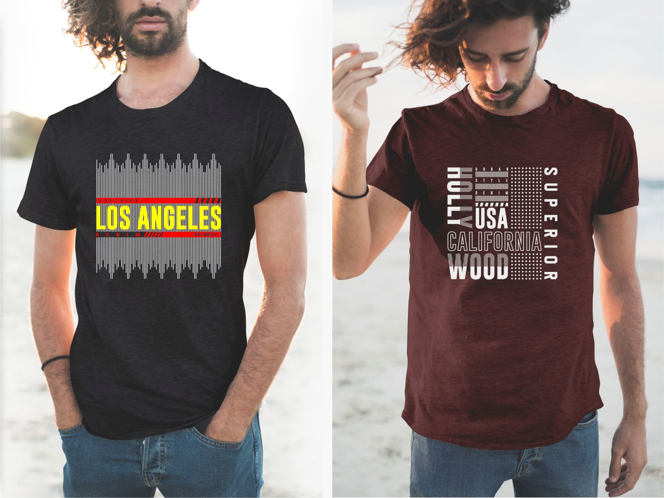 Burgundy and black T-shirt with unusual graphics.
