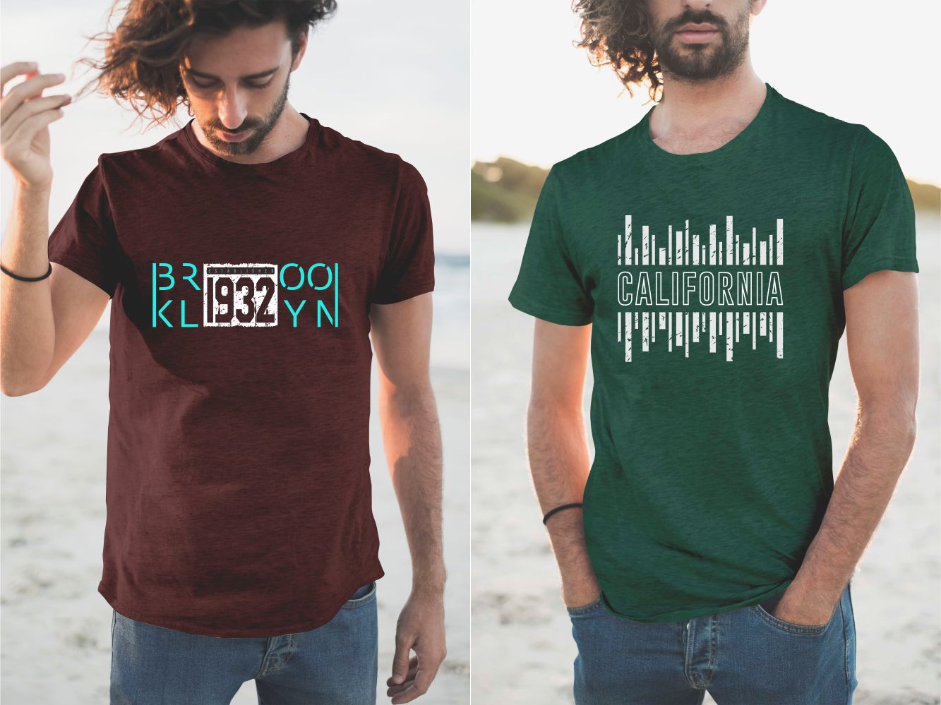 Burgundy and green T-shirts with a laconic and stylish design.