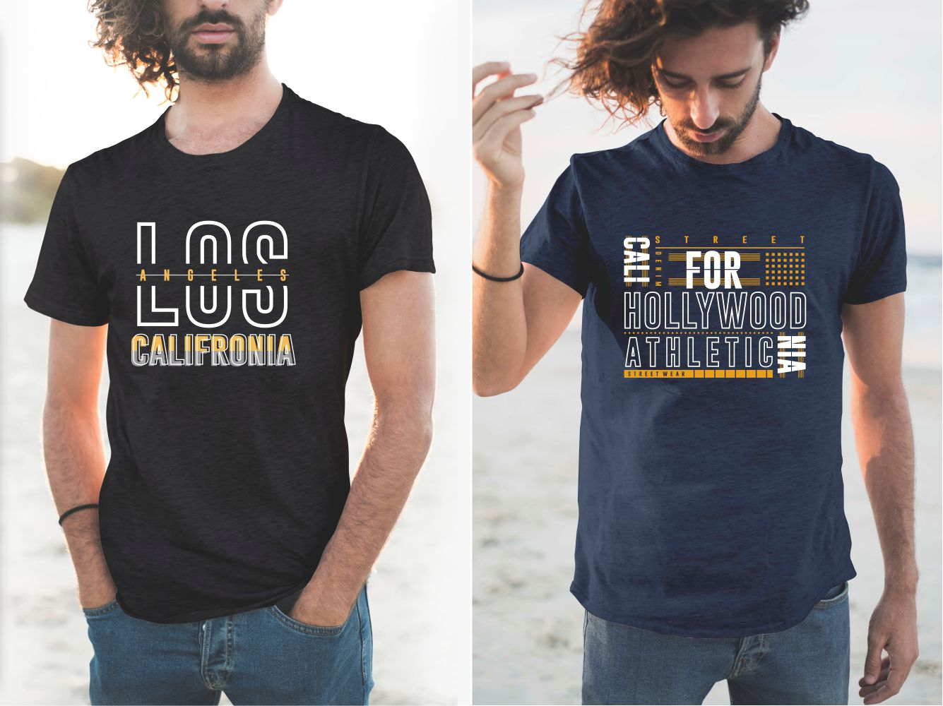 T-shirts with a linear design and stylish font.