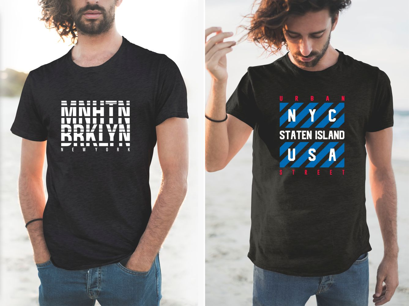 Two high-quality black T-shirts with bold US lettering.