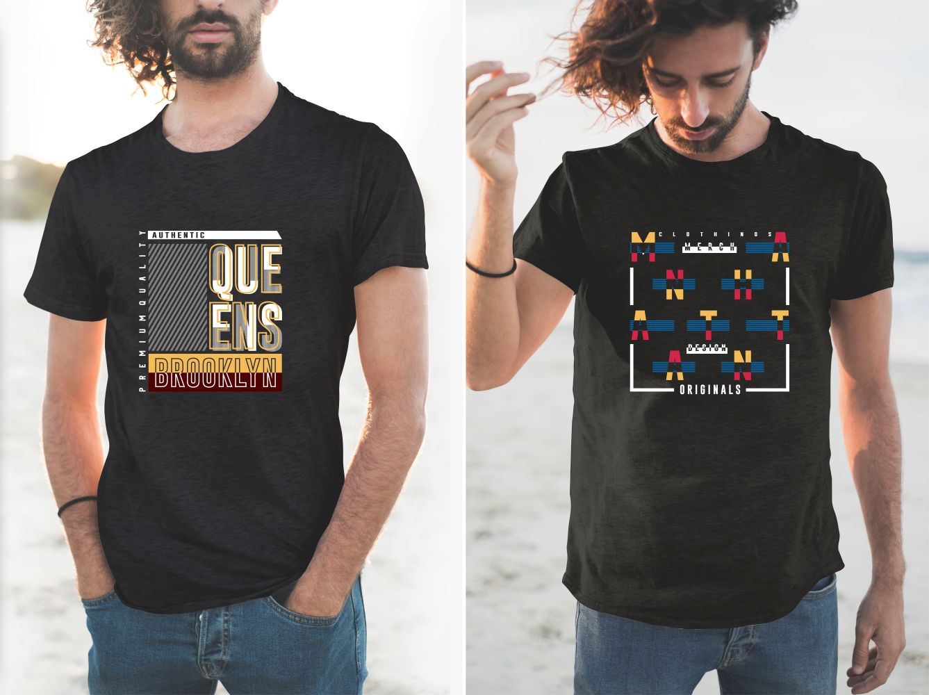 These T-shirts feature stylish designs and rich colors.