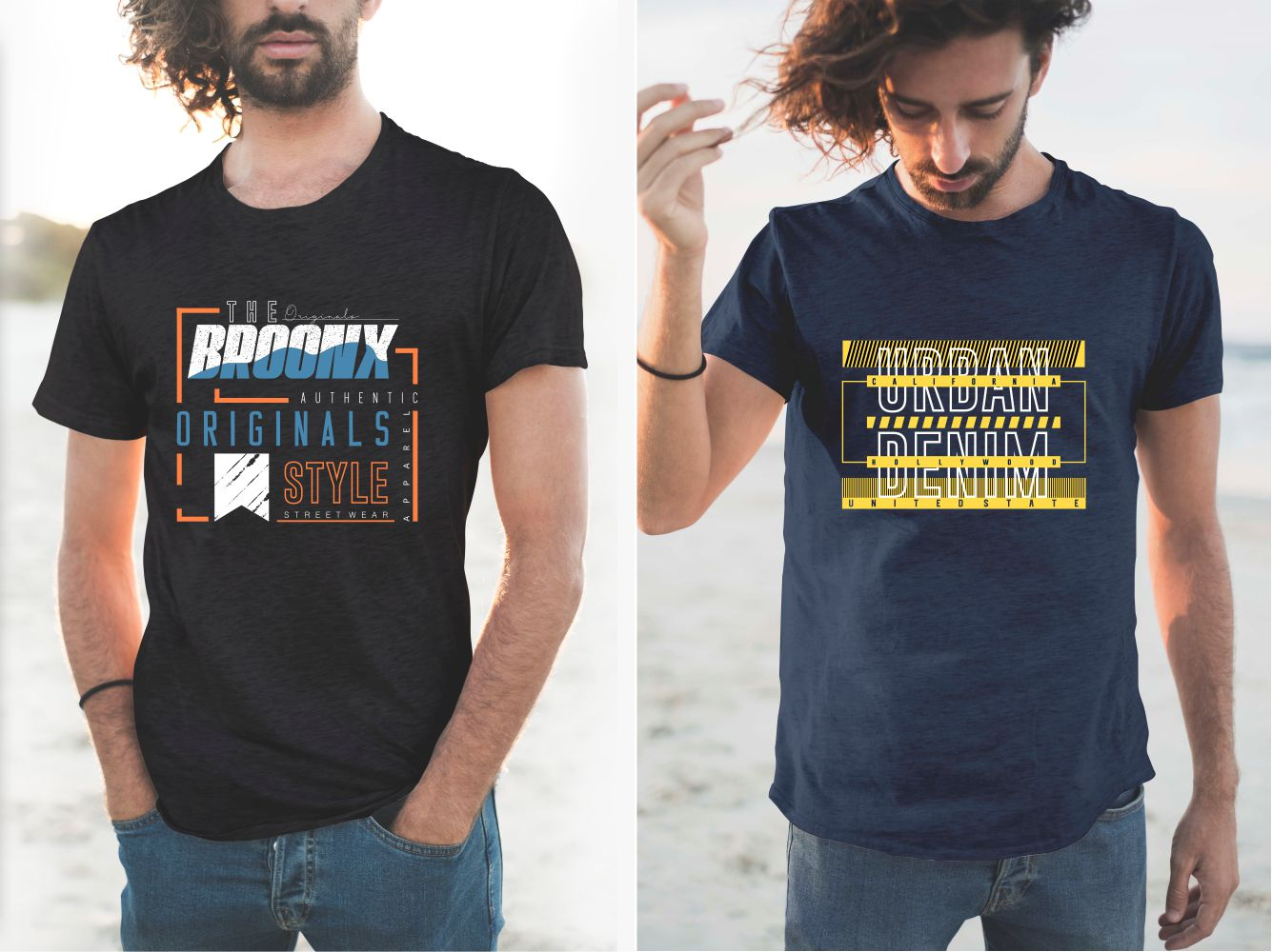 T-shirts with stylish, linear design and modern font.