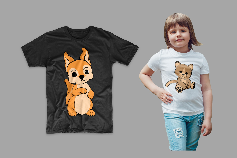 T-shirts with a teddy bear.