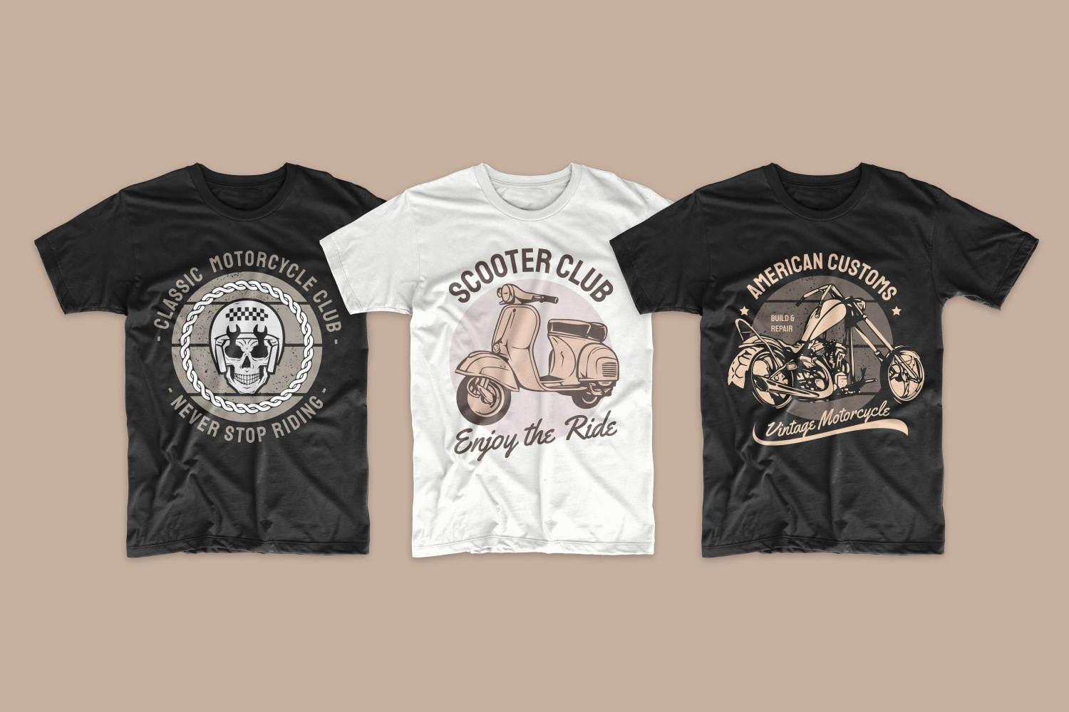 Skull and motorcycle T-shirts.