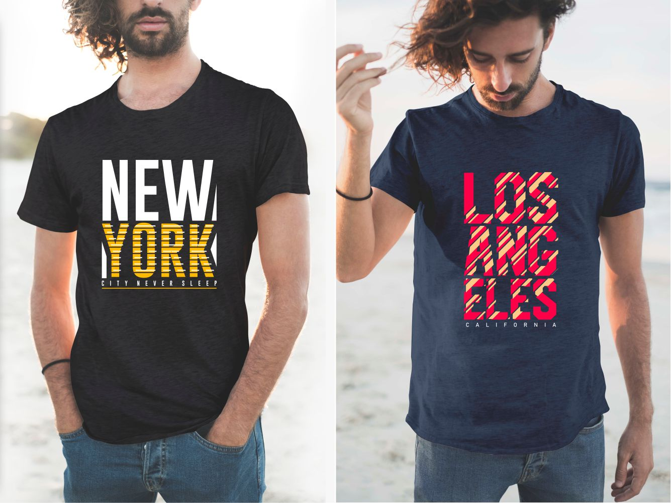 T-shirts are embossed in bright colors - red and yellow - the names of large cities in the United States.