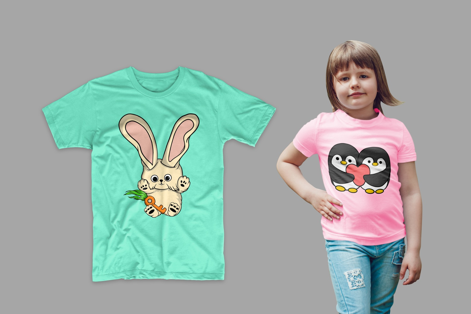 T-shirt pink with penguins in love and green with a bunny.