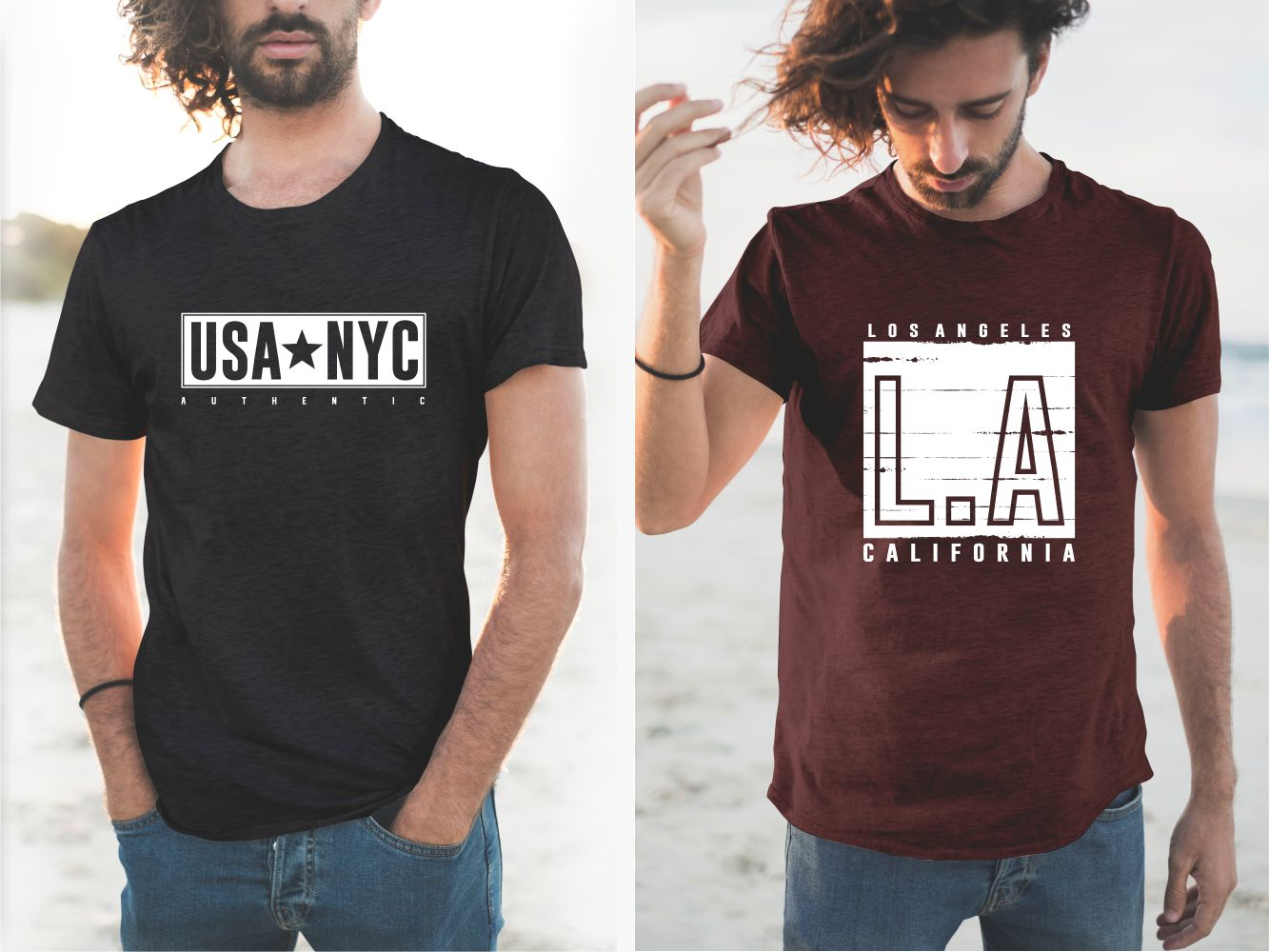 Black and burgundy T-shirts with New York and LA slogans.