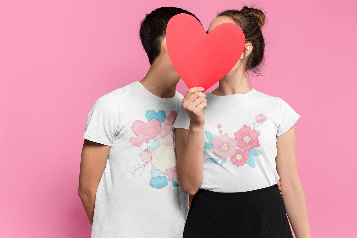 A couple in love in T-shirts with flowers.