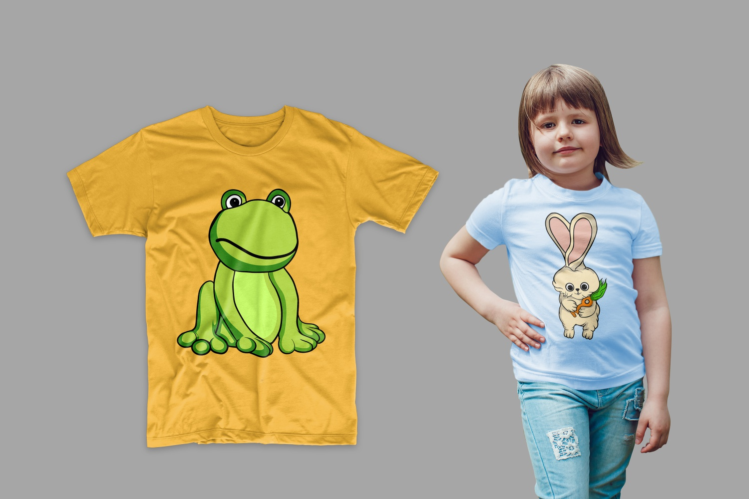 The T-shirt is yellow with a green frog and blue with a bunny.