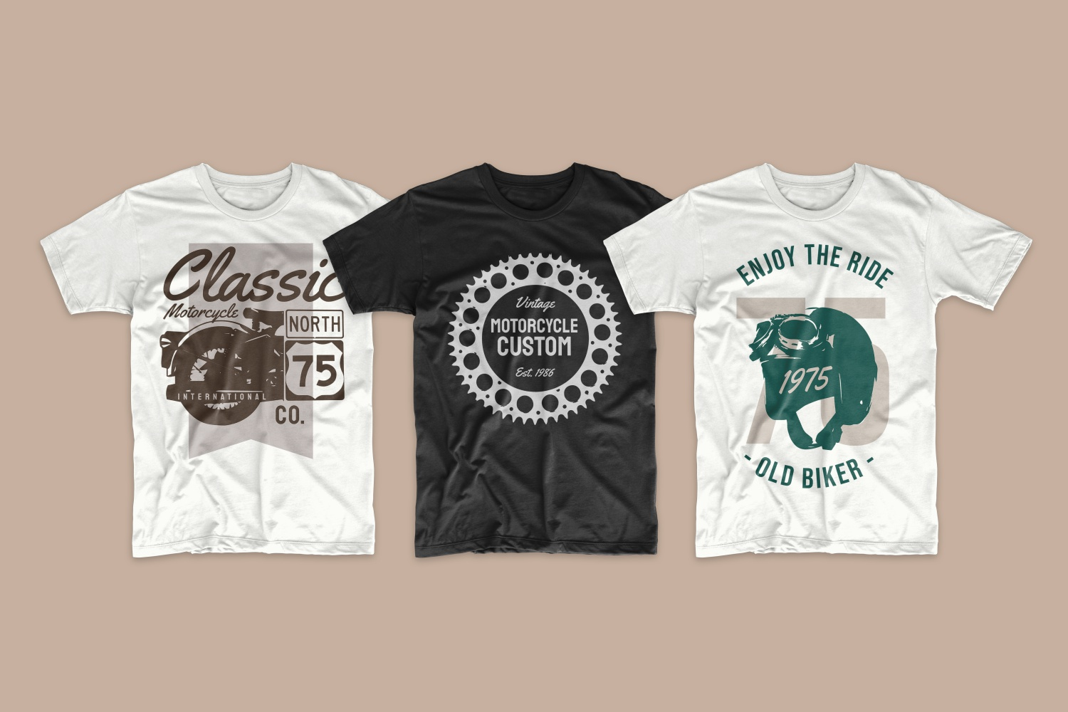 T-shirts with motor and motorcycle helmet.