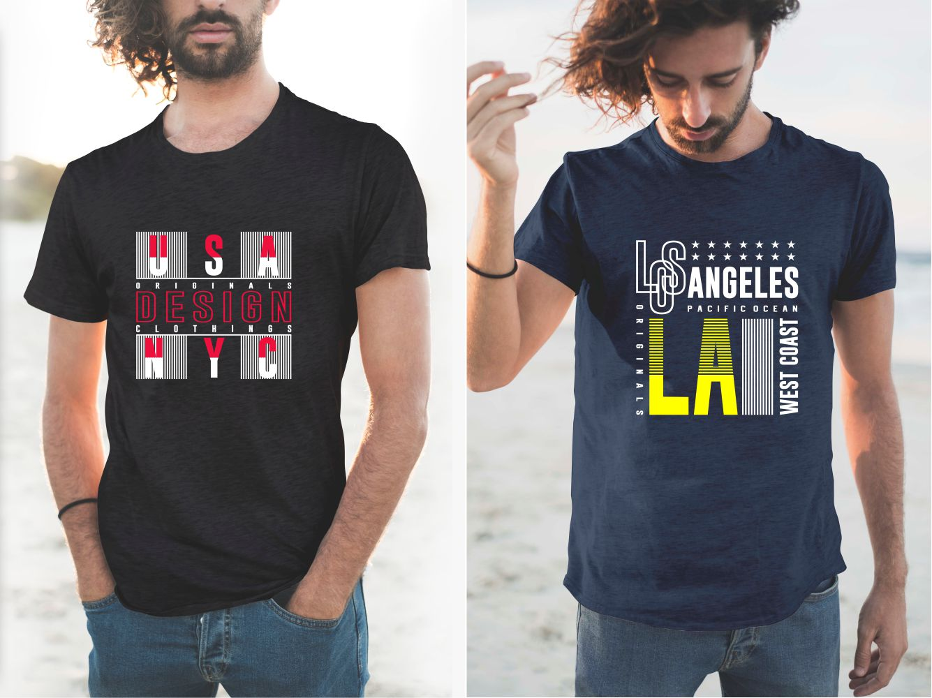 Blue and black T-shirts with US patriotic elements.