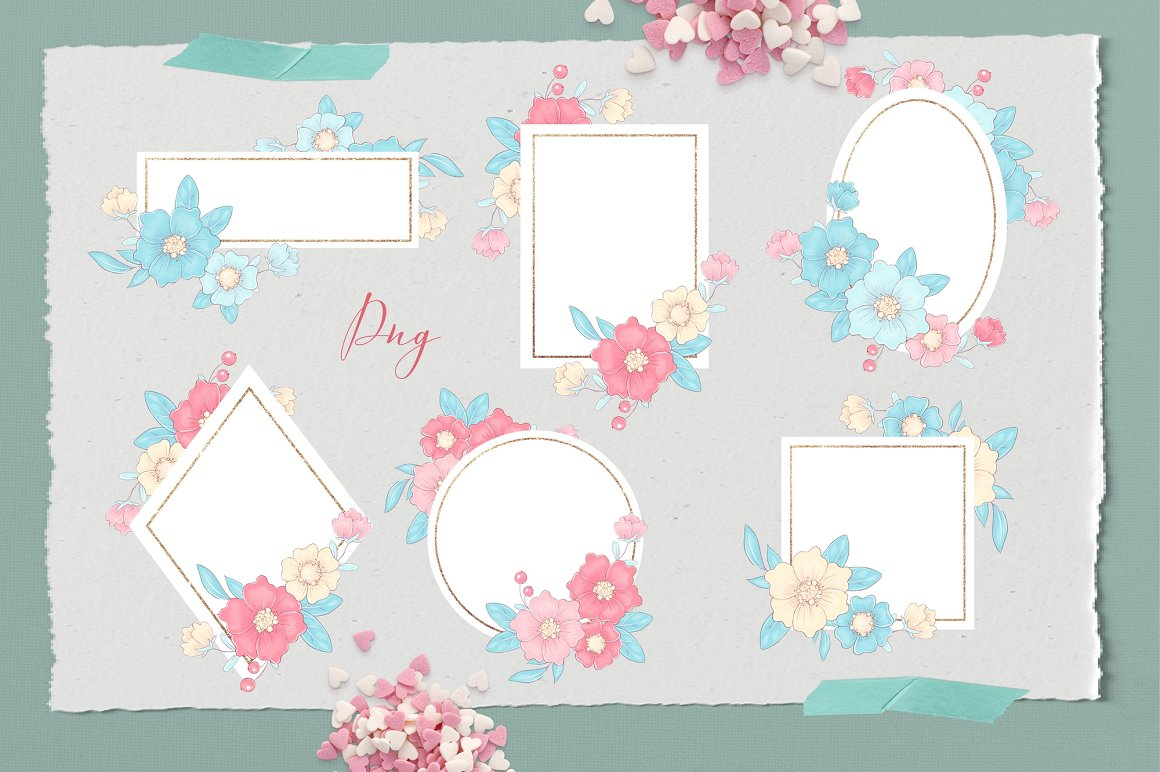 Floral frames for photos of different geometric shapes.