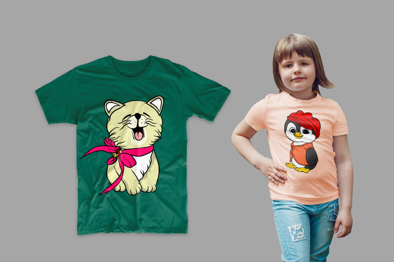 The T-shirt is green with a stylish kitten and pink with a penguin in a hat.