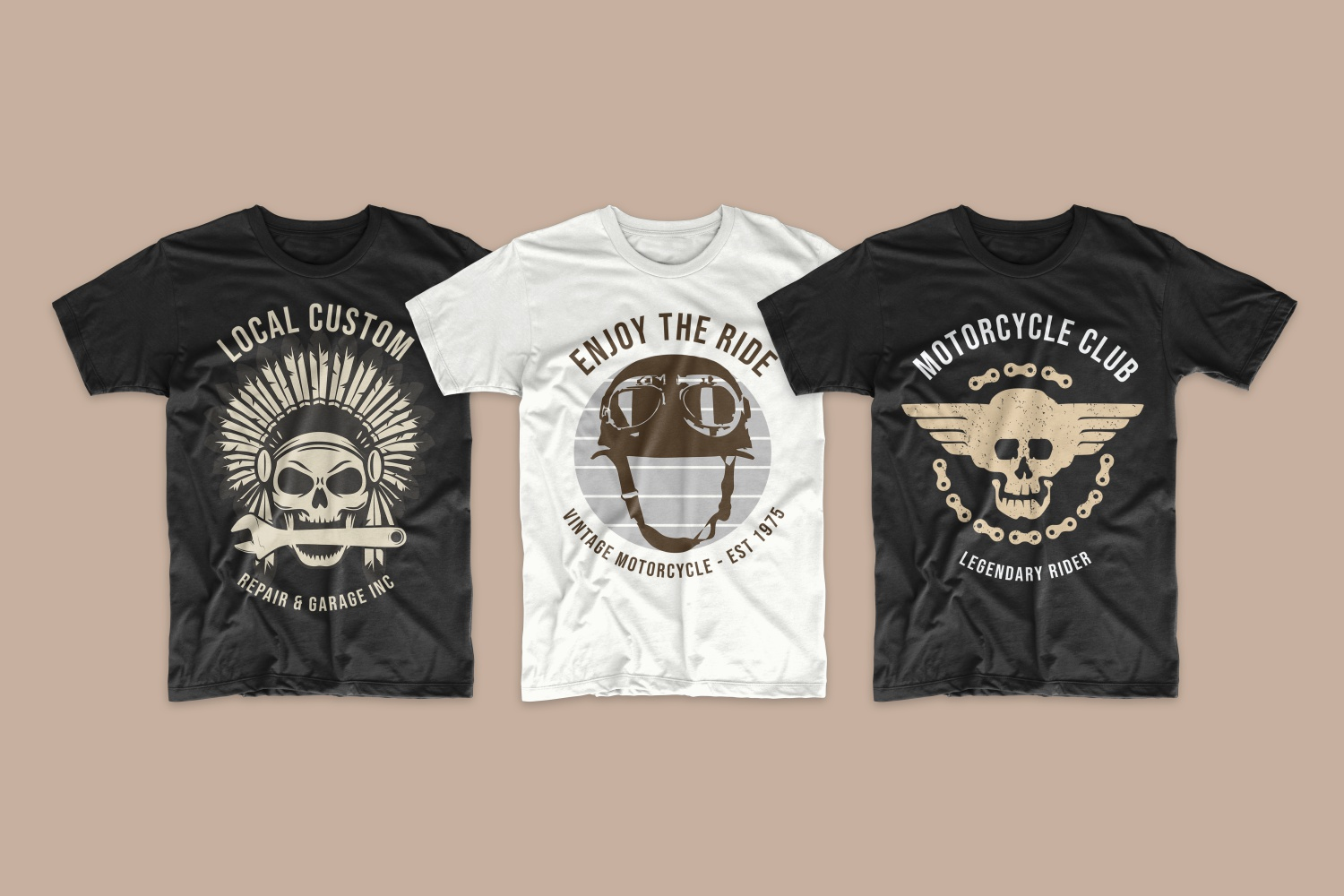 T-shirts featuring a retro motorcycle helmet and a skull with Native American feathers.