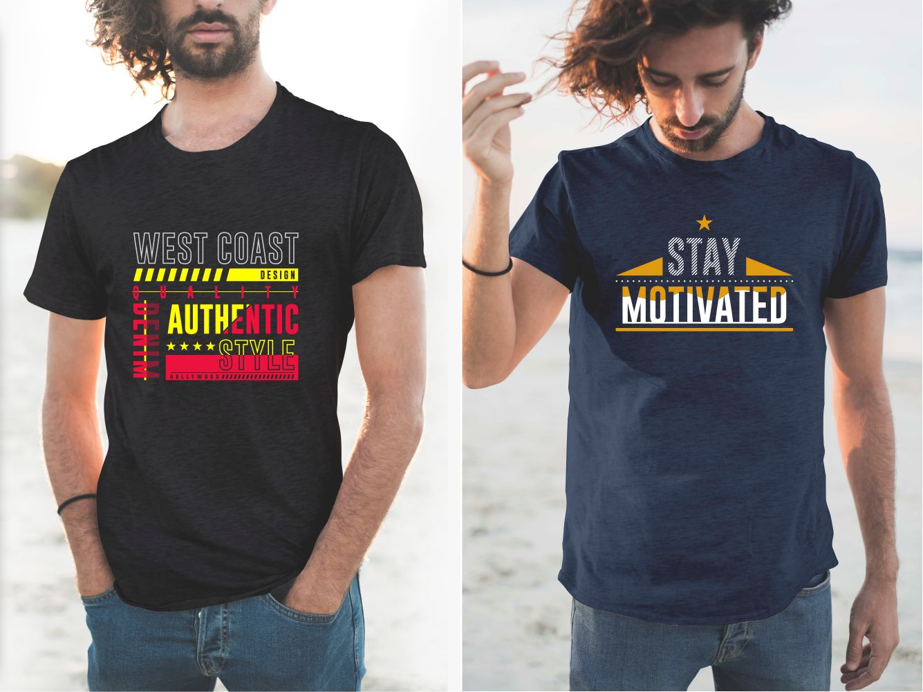 Blue and black T-shirts with bold lettering and graphic elements.