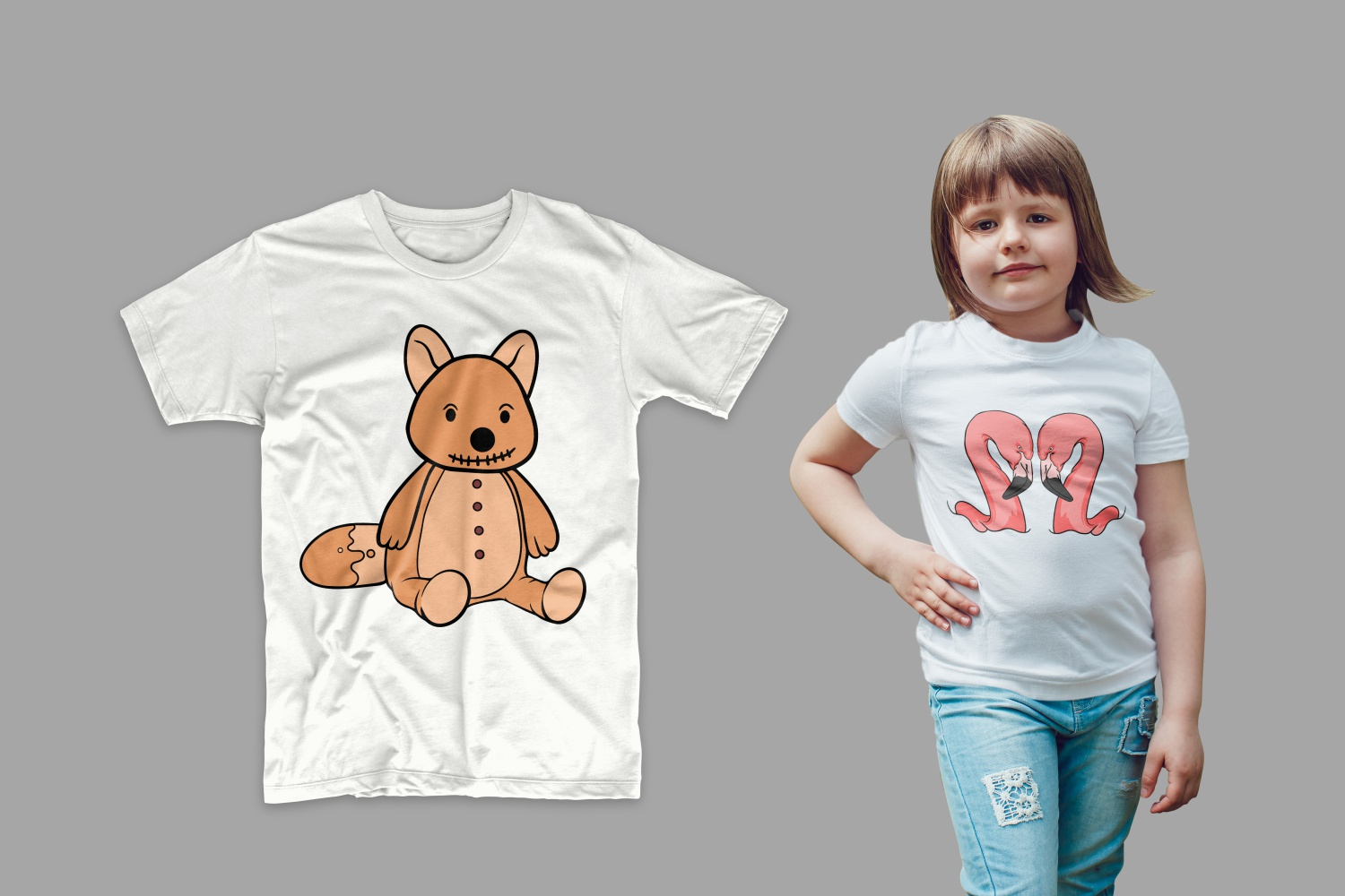 T-shirts with flamingos and teddy bear.