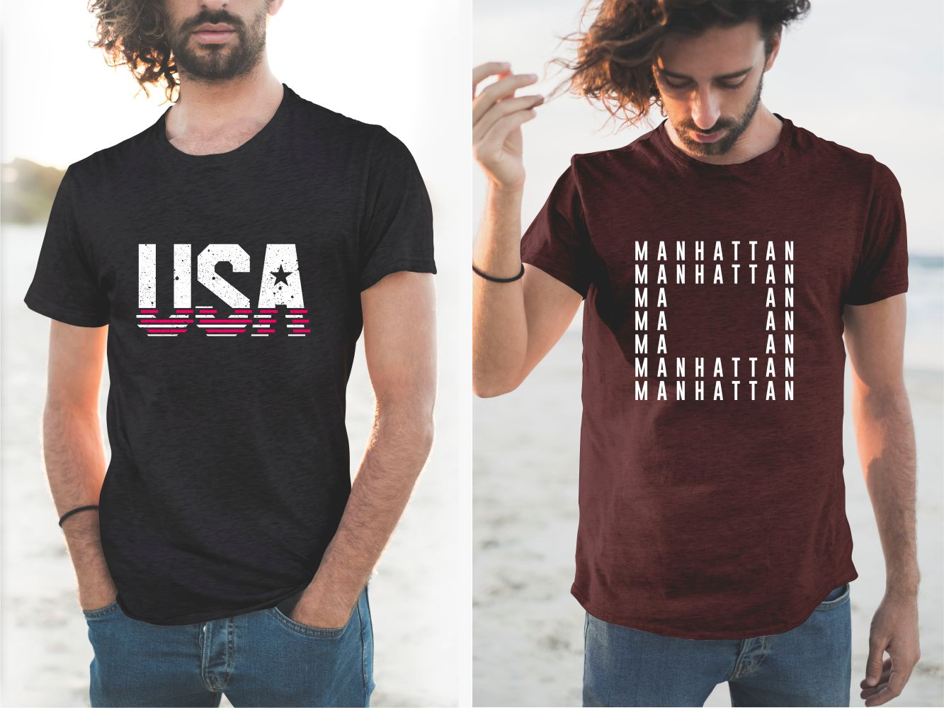 Burgundy and black T-shirts with USA and Manhattan lettering.