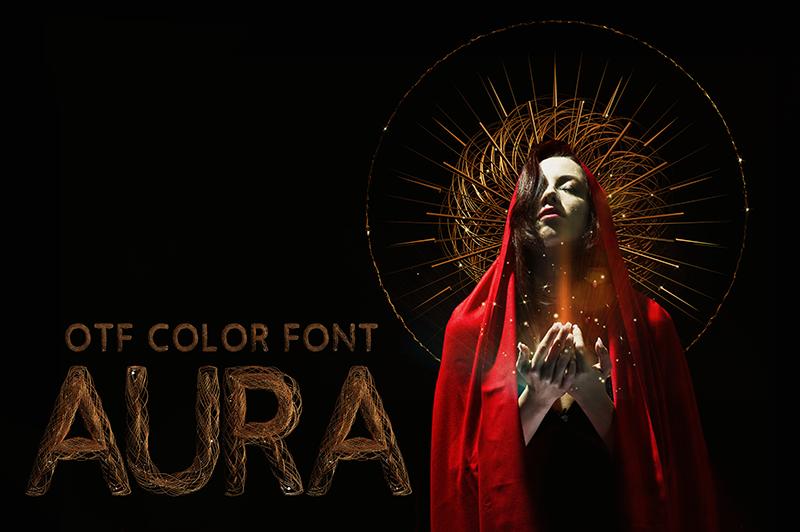 21 Color Fonts: FaeryDesign & PandoraDreams Render Fonts - Aura 00