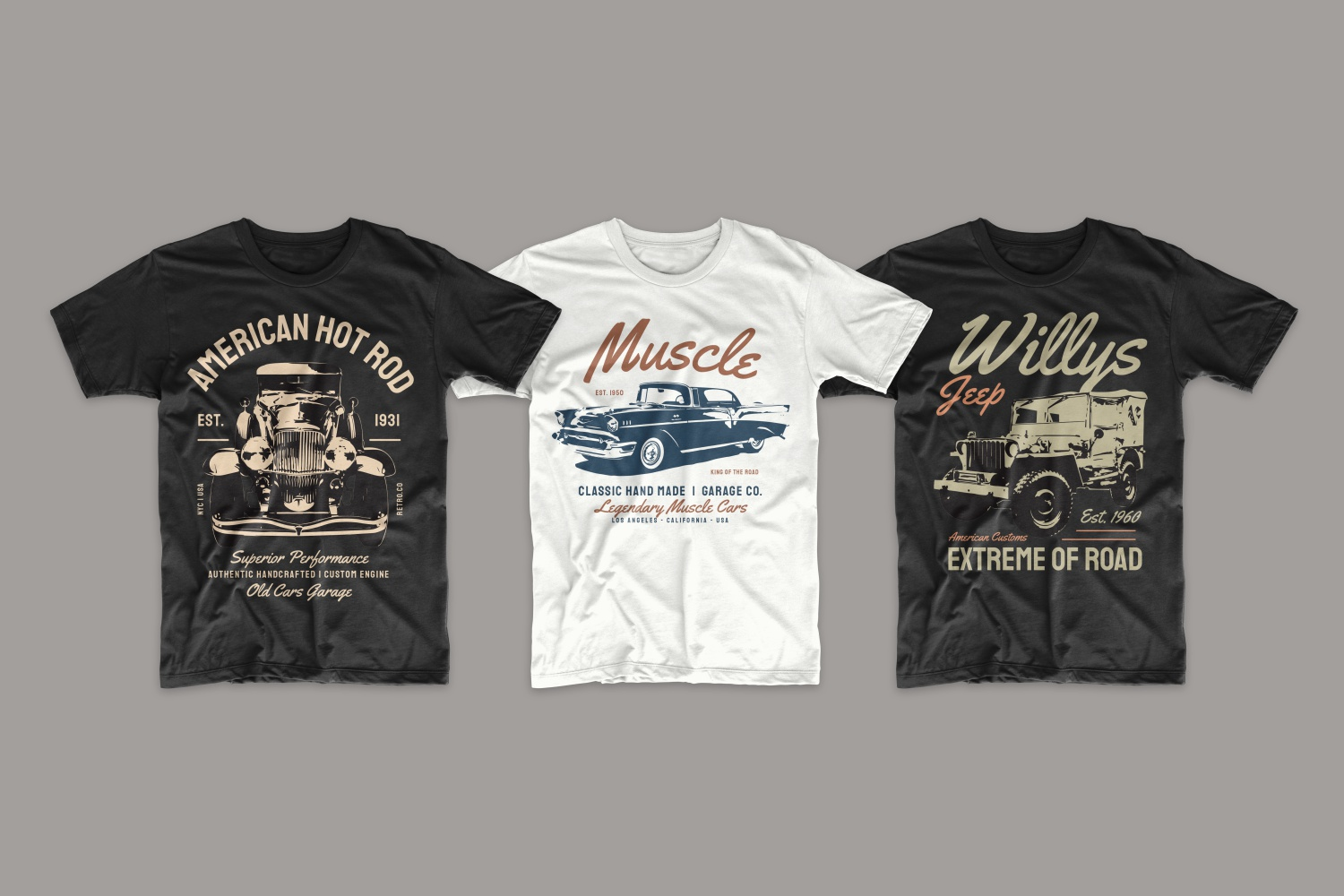 T-shirts featuring the first cars.