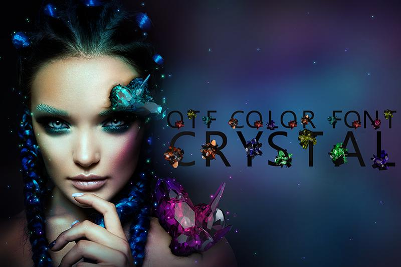 21 Color Fonts: FaeryDesign & PandoraDreams Render Fonts - Crystal 00